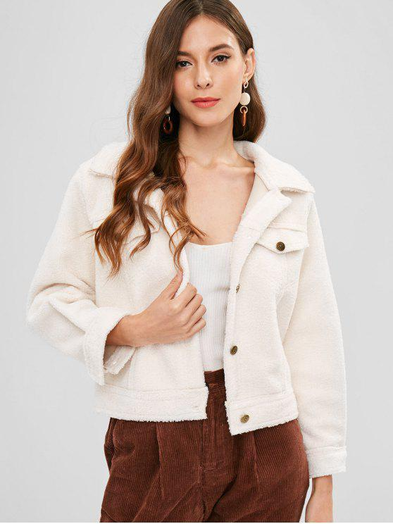 fancy Fluffy Button Up Coat - CRYSTAL CREAM ONE SIZE