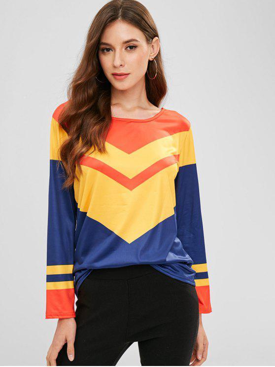 sale Color Block Stripes Long Sleeve Tee - MULTI L