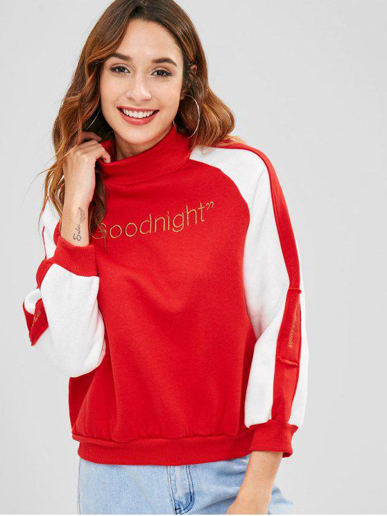 women Letter Embroidered Raglan Sleeve Sweatshirt - RED ONE SIZE
