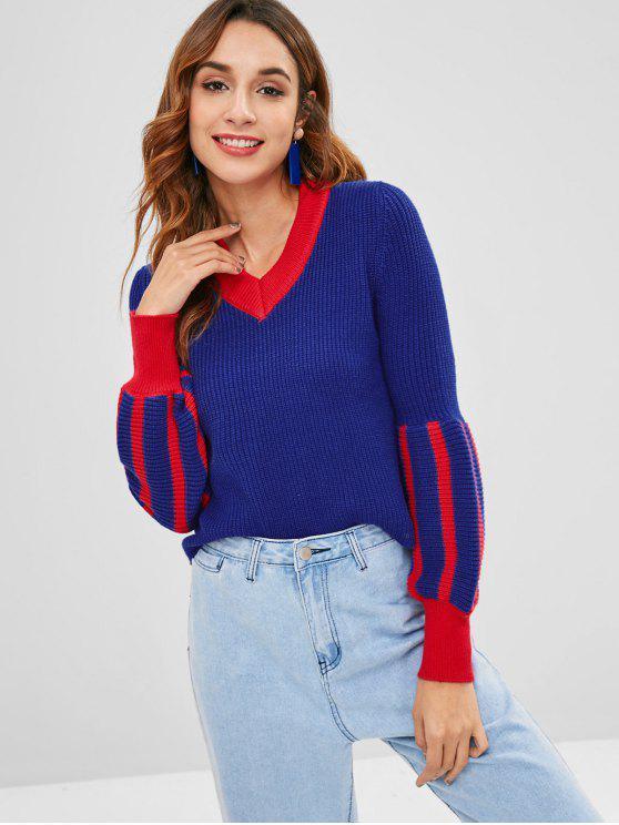 Suéter con cuello en v de manga de linterna - Azul Profundo Talla única