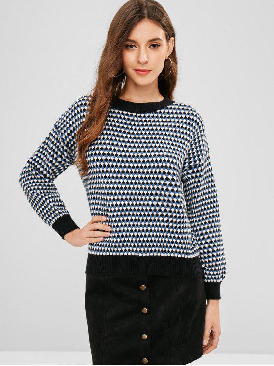 Jersey con cuello redondo y gráfico geométrico - Multicolor Talla única