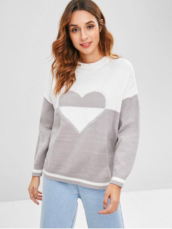 Gota Ombro Coração Sweater - Cinza Claro Tamanho único