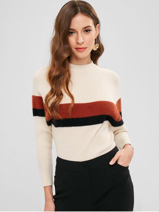 fashion Raglan Sleeve Color Block Casual Sweater - CRYSTAL CREAM ONE SIZE