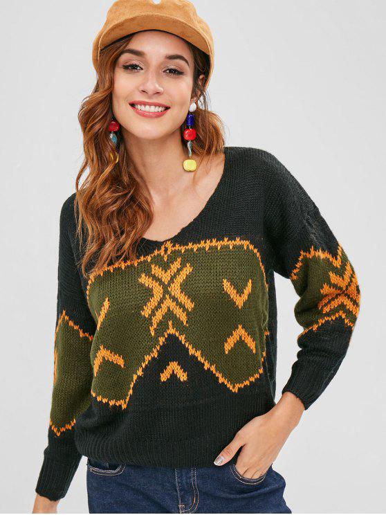 Suéter gráfico de punto con hombros caídos - Multicolor L