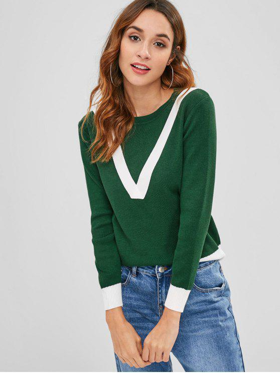 women's Color Block Pullover Crew Neck Sweater - MEDIUM FOREST GREEN ONE SIZE