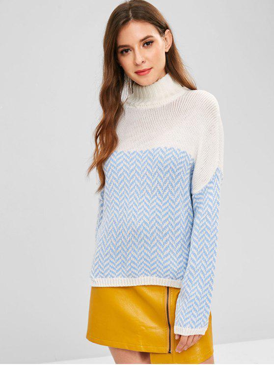 Pull Graphique Zigzag à Goutte Epaule - Blanc Taille Unique