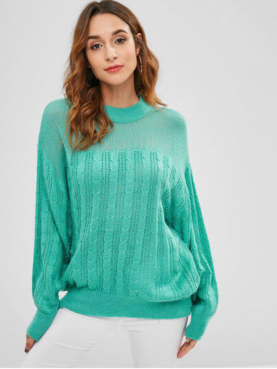 Soltar o suéter de malha de cabo de ombro suéter - Turquesa Média Tamanho único