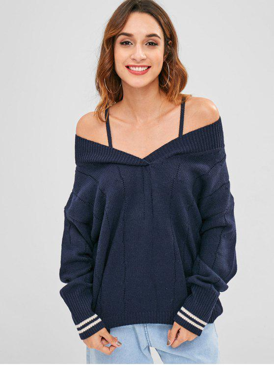 Túnica suelta hombro suelto suéter - Azul de Medianoche Talla única