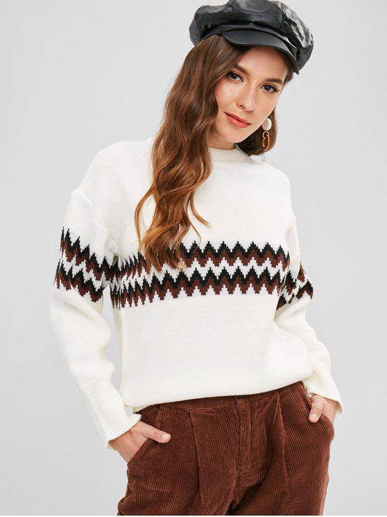 34 Off 2019 Drop Shoulder Zigzag Graphic Sweater In White Zaful