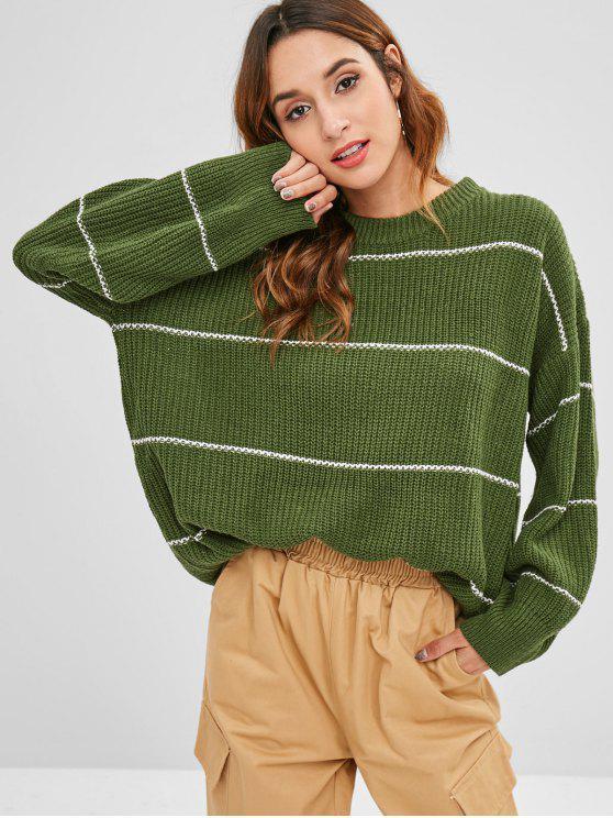 Camisola de túnica solta listrada - Exército verde Um Tamanho