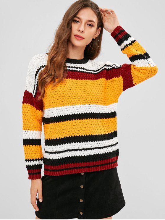 6ceb383676 57% OFF  2019 Multicolored Striped Drop Shoulder Sweater In MULTI ...