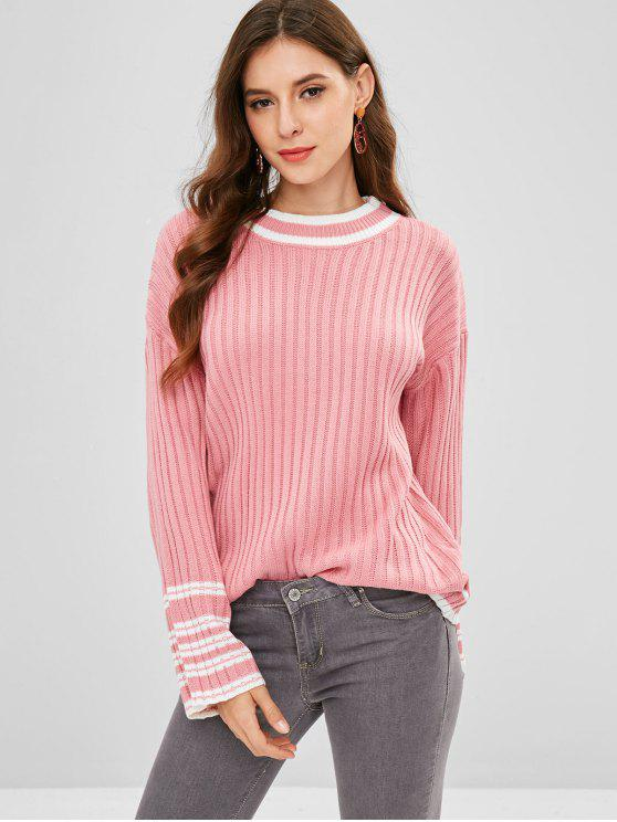 ff483fa39 57% OFF  2019 Loose Drop Shoulder Stripes Sweater In LIGHT PINK