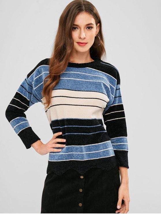 Suéter de rayas festoneadas - Multicolor Talla única
