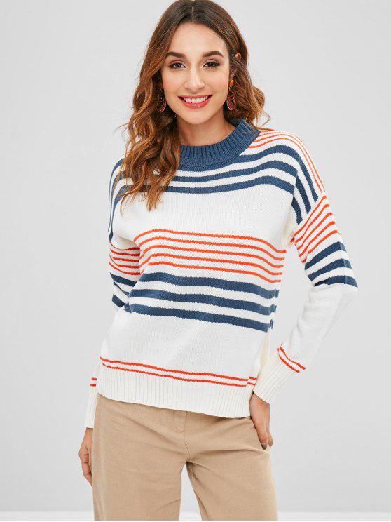 Suéter a rayas de contraste - Multicolor Única Talla