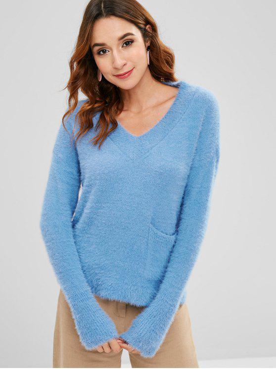 Suéter Fuzzy Drop con bolsillo en el hombro - Celeste Ligero Única Talla