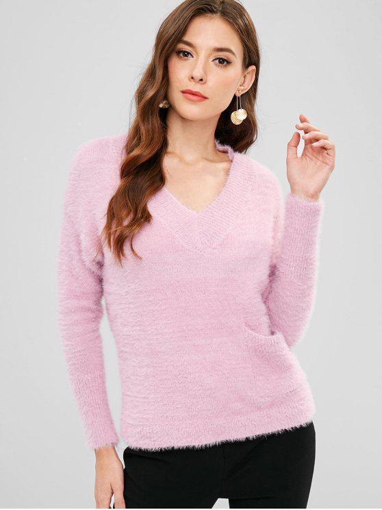 Suéter Fuzzy Drop con bolsillo en el hombro - Rosa Talla única
