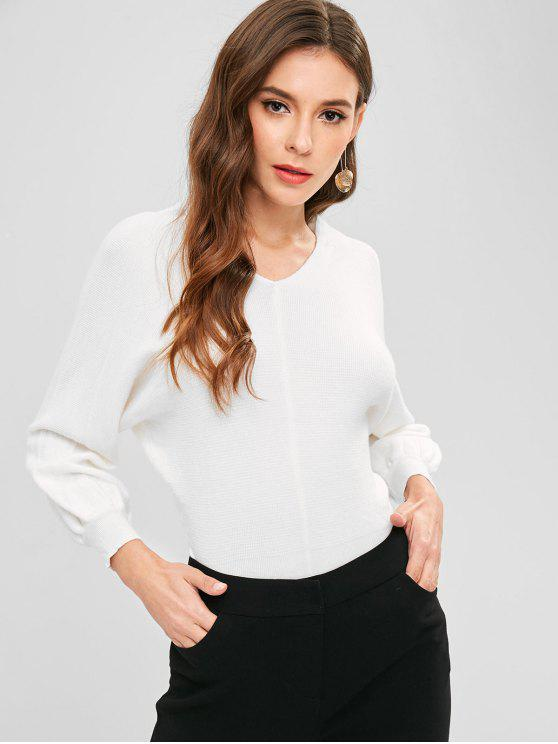 lady Batwing Sleeve Knit Slit Sweater - WHITE ONE SIZE