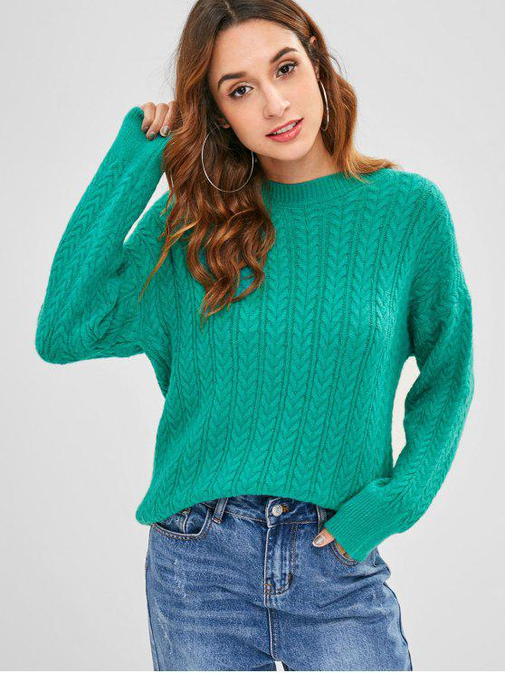best Drop Shoulder Pullover Cable Knit Sweater - LIGHT SEA GREEN ONE SIZE
