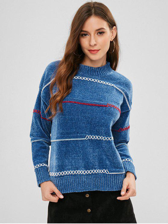 Jersey Criss Cross Suéter - Azul de Seda Talla única