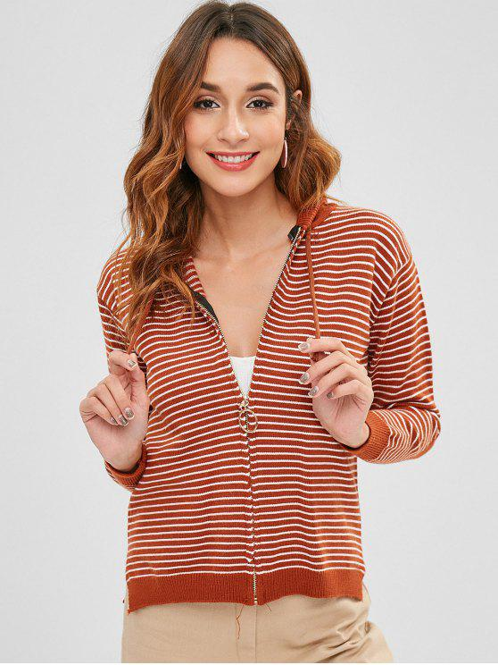 new Striped Zipper Hooded Cardigan - LIGHT BROWN ONE SIZE