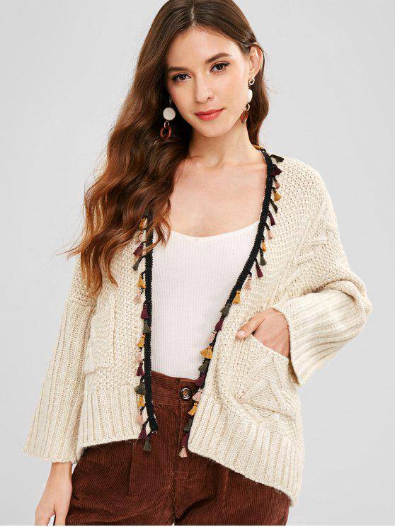 outfits Tassel Drop Shoulder Pocket Cardigan - WARM WHITE ONE SIZE