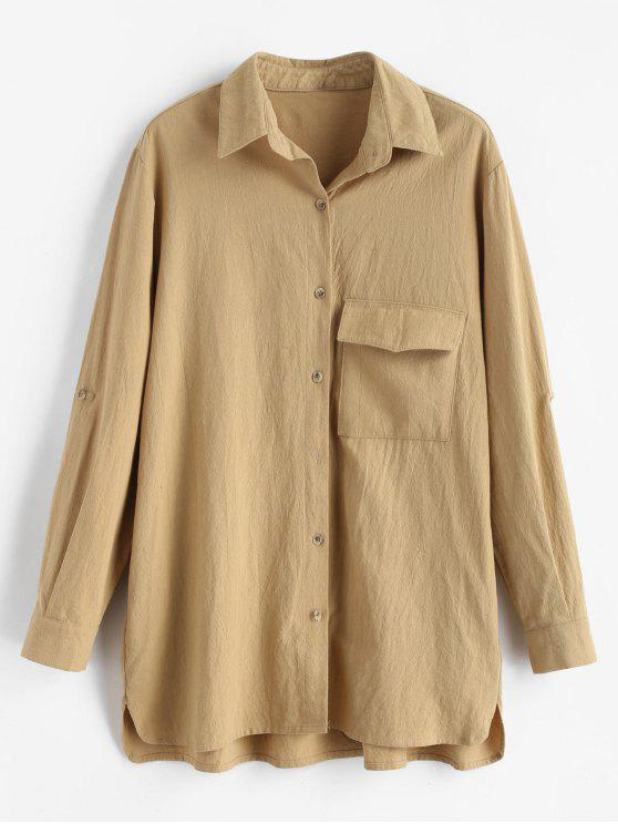 fancy High Low Flap Pocket Shirt - TAN M