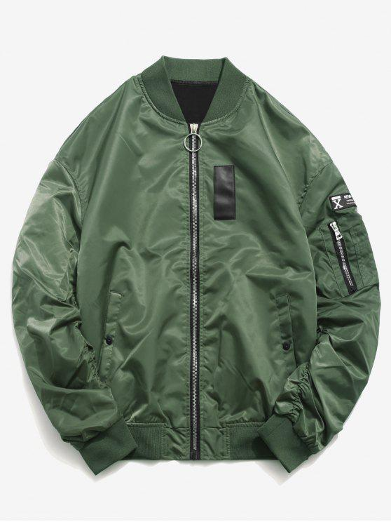 women Sleeve Pocket Patchwork Bomber Jacket - MEDIUM FOREST GREEN L