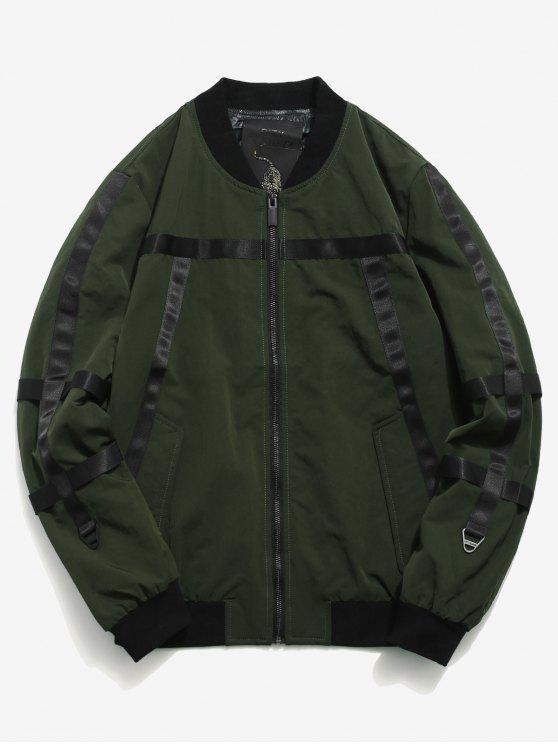 shops Stripe Patchwork Bomber Jacket - DARK FOREST GREEN XL