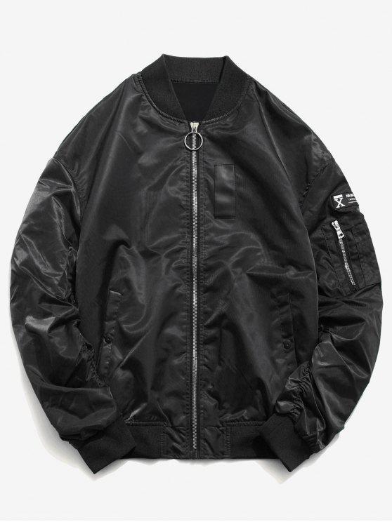 trendy Sleeve Pocket Patchwork Bomber Jacket - BLACK L