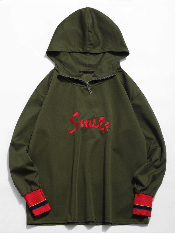 fancy Color Block Embroidered Letter Hoodie - ARMY GREEN L
