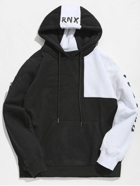 trendy Hiphop Letter Contrast Patchwork Fleece Hoodie - BLACK 2XL
