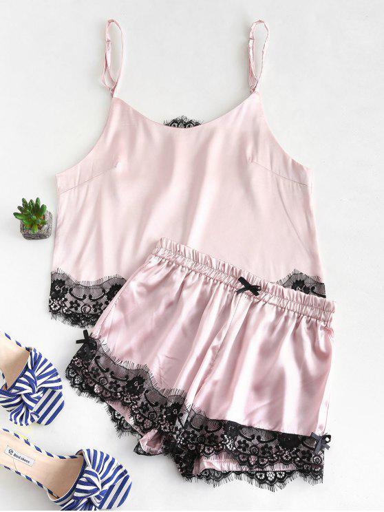 best Satin Lace Insert Camisole and Shorts Pajama Set - LIGHT PINK M