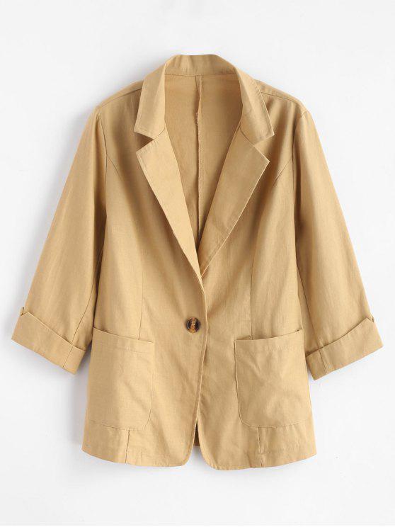 hot Lapel Pocket One Button Blazer - GOLDENROD S