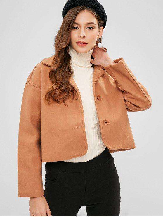 trendy Basic Wool Blend Coat - CAMEL BROWN S