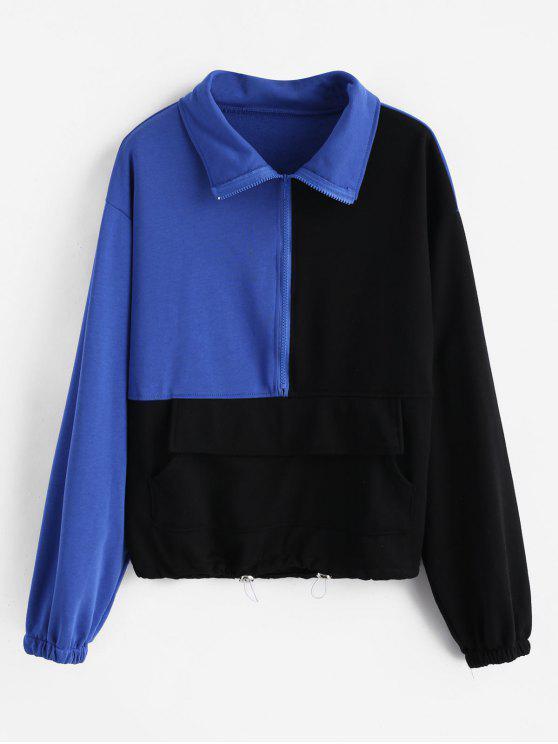 Sweat-shirt Zippé à Goutte Epaule en Blocs de Couleurs - Noir XS