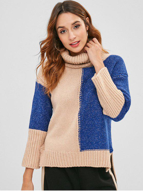 unique Chunky Two Tone Turtleneck Sweater - MULTI ONE SIZE