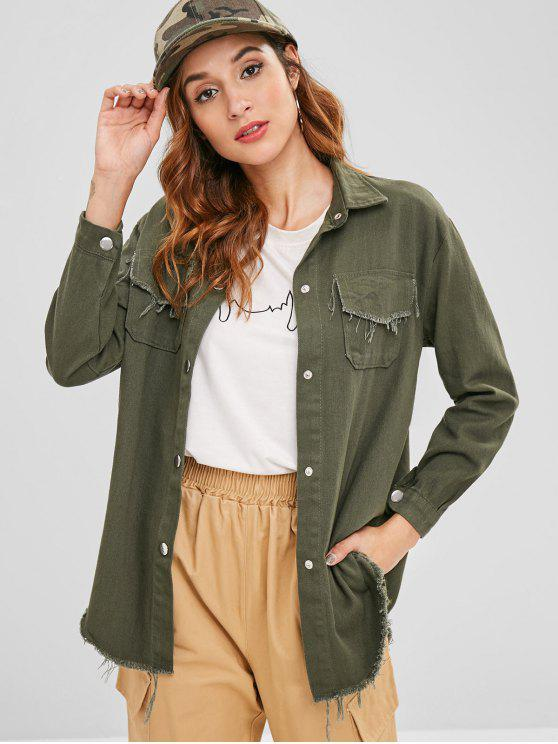 outfits Raw Hem Shirt Jacket - ARMY GREEN ONE SIZE