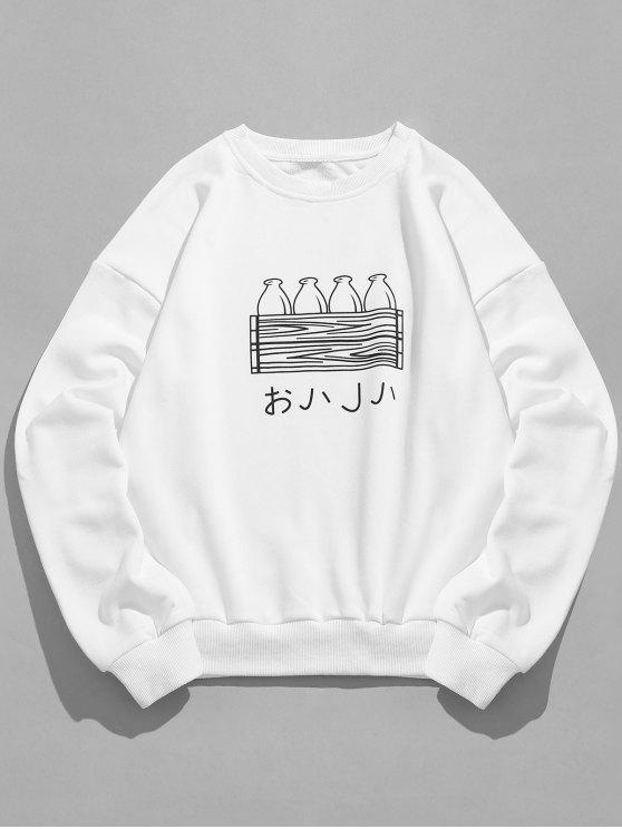 Sweat-shirt Motif de Bouteille à Goutte Epaule - Blanc 2XL