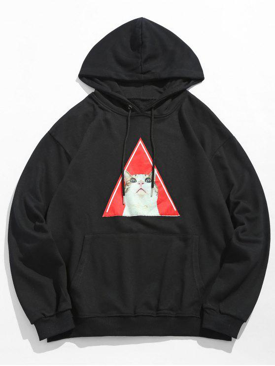 fashion Kitten Pattern Drawstring Hoodie - BLACK 2XL