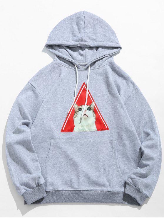 Sudadera con capucha del lazo del patrón del gatito - Gris Claro XL