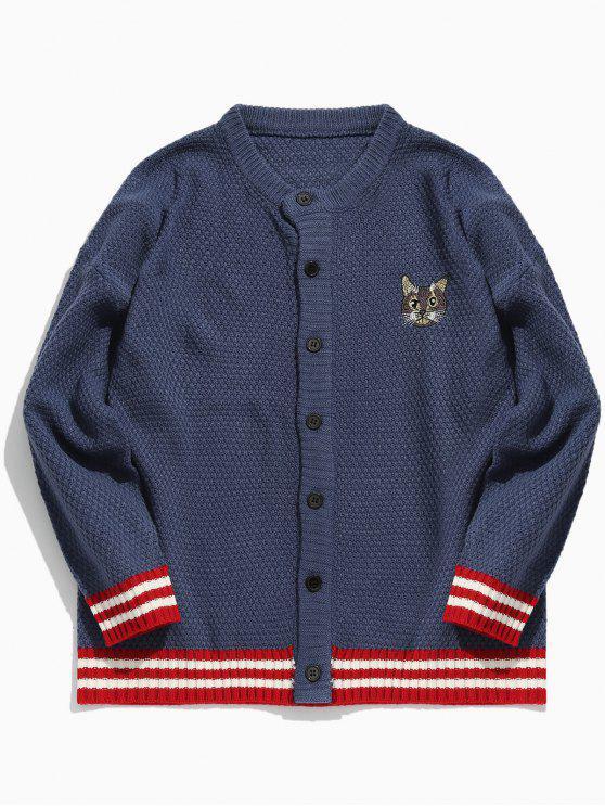 best Kitten Pattern Embroidery Striped Cardigan - DARK SLATE BLUE M