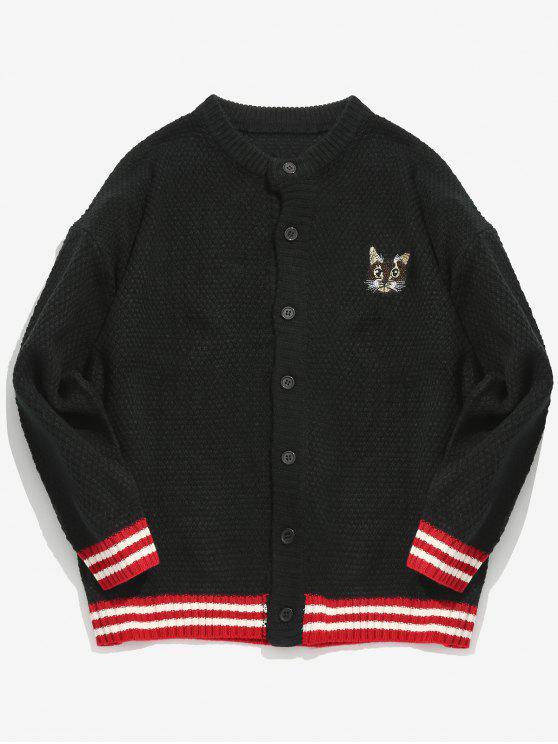 Patrón de gatito bordado cardigan a rayas - Negro L