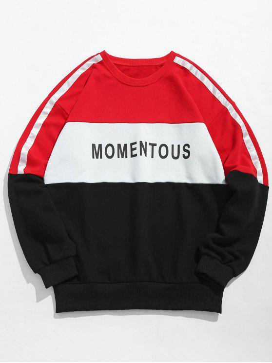 fashion Color Block Splicing Sweatshirt - RED 2XL