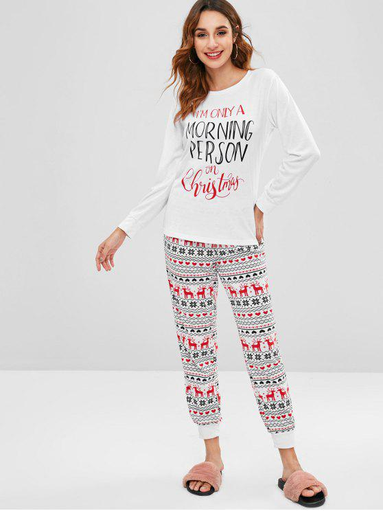 fancy Letter Graphic Christmas Two Piece Set - WHITE L