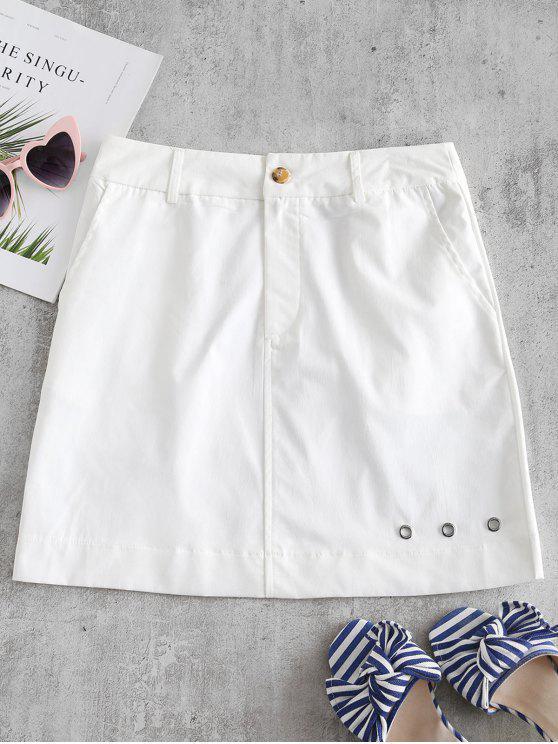 ZAFUL Mini Jupe en Couleur Unie à œillet - Blanc XL