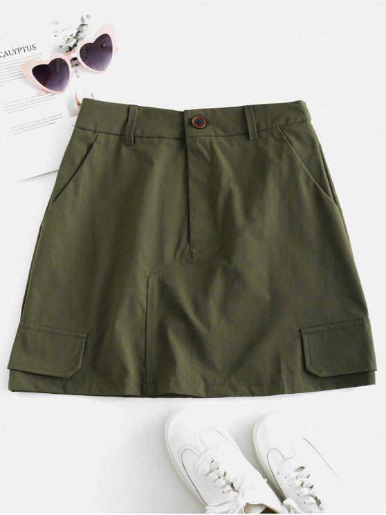hot ZAFUL Plain A Line Skirt with Pockets - ARMY GREEN M