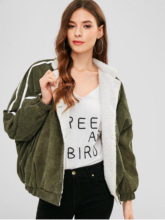 best Striped Side Fleece Lining Jacket - CAMOUFLAGE GREEN L
