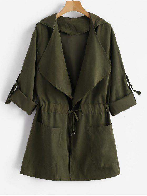 fashion Skirted Open Front Hooded Coat - ARMY GREEN S