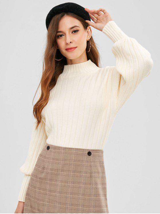 Mock Neck Drop Ombro Solto Sweater - RAL1001 Bege,  Amarelo Claro ou Cinza Amarelo Tamanho único