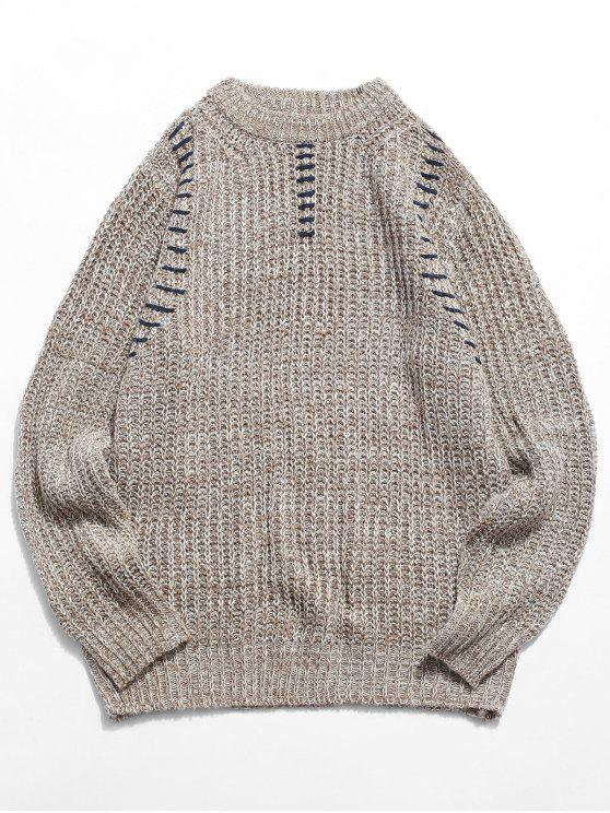 52519551a22 29% OFF  2019 Crew Neck Whipstitch Sweater In LIGHT KHAKI